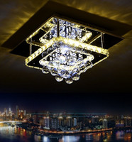 Wholesale 14 Inch Plate - Modern Dimmable Luminaria Corridor K9 Crystal Ceiling Light Plate Steel Led Ceiling Lamp Bedroom Lighting LLFA