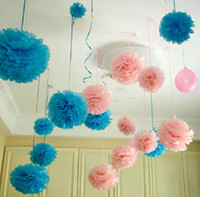 pompones al por mayor artesanía al por mayor-Venta al por mayor-Diámetro 20cm 5pcs / lot Papel artificial PomPom Tejido Bolas Flor para Home Wedding Party Decoración del coche Pompon artesanía Suministros