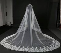 Wholesale Embroidered Appliques - Lace Edge 4 Meters Long White Bridal Appliques Veils High Quality In Stock Bridal Wedding Veils 2017 New Collections Designer Veils