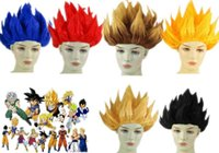 Wholesale Goku Wigs - Anime Dragon Ball Goku Party Halloween Costume Cosplay Wigs 6 colors IN STOCK 2017 Bragon Ball Party Supplies Red Blue Yellow