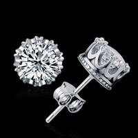 Wholesale Gold Carats - New arriver Fashion Jewelry 6MM Round 2 Carat Cubic Zirconia Silver Plated Earrings stud for Women