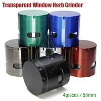Wholesale Grinder Tabacco - Top quality Metal Side transparent Window Grinder 55mm 4 Layers Zinc Alloy Herb Tabacco chamfer Magentic herbal vaporizer ecigs Grinders DHL