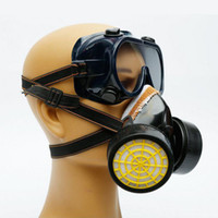 Wholesale Dust Spray - Dual Anti-Dust Spray Paint Industrial Chemical Gas Filter Respirator Mask Glasses Goggles Set Black Equipment Safeguard ZA2560