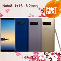 Wholesale Rom Box - 6.2HD Real Fingerprint Note8 Phone 1GB Ram 16GB Rom MTK6580A Quad Core Mobile Phone 1280*720 8MP Rear Camera Sealed Box show 4G 64G 4G LTE