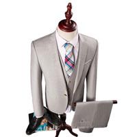 Wholesale Korean Tuxedo Jackets - Wholesale- 3Piece Hot Mens Suit Costume Homme Slim Fit Stripe Wedding Dress Suit Men One Button Korean Tuxedo Blazer Set (Jacket+Pant+Vest)
