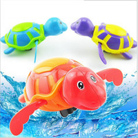 Wholesale Baby Tortoise - summer Toy turtles swim turtle swim New baby Bath Toys Clockwork kids Bath tortoise cartoon Swimming turtle toys