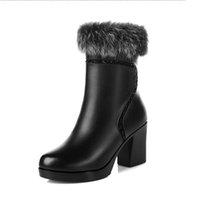 zip botas de neve venda por atacado-2017 Moda Grosso Botas De Neve de pele Natural Mulheres Botas de Couro de Vaca Real À Prova D 'Água Inverno Ao Ar Livre Quente Ankle Boots de Inicialização