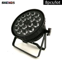 Wholesale channel business - 8pcs lot LED Par Can 18x18W RGBWA+UV DMX Stage Lights Business Light High Power Light with Professional for Party KTV Disco