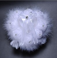 Wholesale Heart Pillow White For Wedding - Handmade Lace Organze Feather Crystal Ring Pillow Wedding Supplies Rhinestone Rose Flora Love Heart Bridal Ring Pillows for Wedding Party