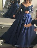 drape elbiseler kolları toptan satış-2017 Lacivert Balo Gelinlik Modelleri Kapalı Omuz Sırf Uzun Kollu Dantel Kristal Boncuk Draped Saten Etek Elbiseler Akşam Aşınma Resmi