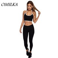 Wholesale Baseball Crop Top - OMILKA 2017 Summer Women Halter Backless Crop Top and Long Pant Set Sexy Black Red Green Patchwork 2 Piece Tracksuits Set