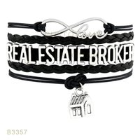 Wholesale Real Estate Wholesalers - (10 Pieces Lot) Infinty Love Real Estate Broker Metal Charm Bracelet Suede Leather Wrap Bracelet Any Themes Drop Shipping