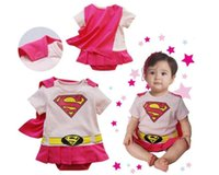 Wholesale Superman Baby One Piece - cosplay costumes Supermen hero Baby One-Piece baby Rompers boys girls cotton Romper Clothes short-sleeved clothes for kids