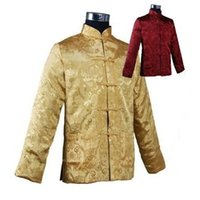 Wholesale Men Chinese Silk Coat - Wholesale- Burgundy Gold Traditional Reversible Chinese Men's Silk Satin Jacket Two-Face Coat with Pocket Size S M L XL XXL XXXL