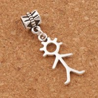 Wholesale Bead Stick - Stick Figure Boy Person Big Hole Beads 100pcs lot Antique Silver Fit European Charm Bracelets Jewelry DIY B1146 34.4x10.4mm