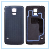 batería de oro para galaxy s5 al por mayor-Alta calidad nueva carcasa de la contraportada de la batería de la contraportada para Samsung Galaxy S5 SV I9600 G900 con anillo de goma blanco negro azul oro