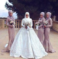 Wholesale Trumpet Line Wedding Dresses - arabia muslim hijab bridesmaid dresses satin with lace appliques beaded A-line long sleeves hijab wedding guest dresses