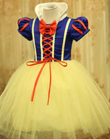 Wholesale Snow White Clothing Girls - ew design girl snow white princess costumes cosplay cute kids performance clothes cartoon Christmas dress party clothing