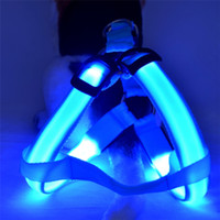 Wholesale Led Collar Harness Light - Nylon LED Dog Harness Pet Cat Dog Collar Harness Vest High Quality Safety Lighted Accessories Dog Harness Small   Big   Large