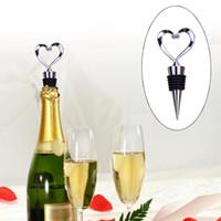 Wholesale Stainless Steel Heart Bottle Stoppers - Heart Shaped Wine Bottle Stopper Twist Wedding Favor Gifts 2017 New Arrival Wine Bottle Stopper Bar Tools Silver Color