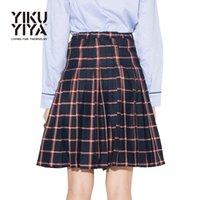 Wholesale Color Block Skirts - Yikuyiya 2017 Solid Black Casual Women Mini Skirt Slim Sexy High Waist Pleated Street Skirt Asymmetrical Plaid Color Block Skirt