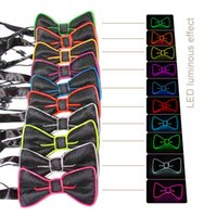 Wholesale Glowing Tie - 2017 New Design Fashion Light 10 Color Light Up LED Bow Tie bowtie glowing EL wire Bow Tie For DJ,bar,club and Evening Party Decoration