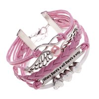 Wholesale Heart Wig - Pink girl Korea Jewelry Leather Double Wigs Infinite Multilayer wax leather Bracelet Women Imitation Big Pearl with three hearts Bracelet