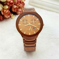 Wholesale Ladies Quart Watches - Wholesale Lover's men women watches Luxury brand 3 Eyes Full Stainless Steel band Quart watch with Auto Date for mens ladies Valentine Gift