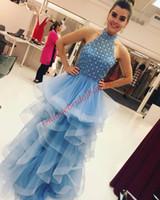 Wholesale Prom Halter Ballgowns - Bling Bling Prom Dresses 2018 Ruffles Skirt South Africa Long Ballgown Ring Dance Dress prom2k18 Major Beading Crystals