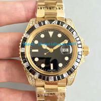 Wholesale Eta Men Watch - Luxury Brand Yellow Gold Automatic ETA 2836 Movement Men's watch Black White Diamonds Bezel Sapphire crystal New Style Man watches