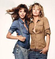 Wholesale Women Denim Slim Jean Shirt - Wholesale- New 2016 Fashion Slim Waist Thin Denim Shirt Full sleeve Jean Blouse For Women Turn down collar blue pink brown button