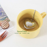 Wholesale Heart Shaped Tea - 2018 new 10 pieces Heart Shaped Tea Infuser Spoon Strainer Stainless Steel Steeper Handle Shower