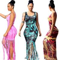 Wholesale Slim Cocktail Dresses - Sexy Womens Sleeveless Bodycon Beachwear Cocktail Party Tassel Maxi Dress Slim