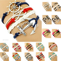 Wholesale Anchor Love Infinity Leather Bracelet - (10 Pieces Lot) High Quality Infinity Love Faith Compass Anchor Charm Suede Leather Wrap Bracelets For Women Men Gifts Jewelry Drop Shipping