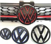 rozetler arabaları toptan satış-Yeni Golf 7 Gti MK7 için Boyalı Renk VW logo Amblem Araba Ön Izgara Rozet ve Arka Kapak Arka Kapı Mark Golf7 VII Styling