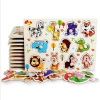 bildung spielzeug rätsel großhandel-Holz Puzzle Spielzeug Kindergarten Kinder Puzzles Puzzles Handschuhe Spielzeug Verständnis Digital Colors Education Toys Wholesale Freies Verschiffen
