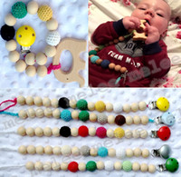 Wholesale Crochet Clips - INS Infant Baby Pacifier Clips Teethers Soothers Dummy Holder Chain Natural wooden beads Crochet covered beads Safe for teething 10colors