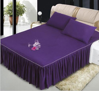Wholesale Rose Bedspread Full - purple gray green pink bed skirt bedspread Bed Skirts Mattress Cover sheet wedding bed covers sheets twin   full   queen size