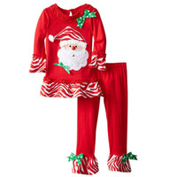 Wholesale Wholesale Leggings United States - 2017 Europe and the United States autumn girl Christmas stripes net yarn skirt + striped leggings Christmas suit new children's suit