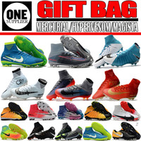 Wholesale Ankle Boots 12 - New High Ankle Football Boots Mercurial CR7 Superfly Neymar Soccer Shoes Indoor Athletic Shoes Magista Obra II FG TF Soccer Cleats GIFT BAG