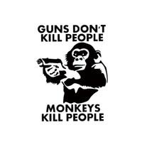 Wholesale People Monkeys - 2017 Hot Sale Car Stying Guns Don't Kill People Monkeys Do Vinyl Decal Car Window Bumper Funny Sticker