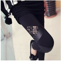 Wholesale Cheap Faux Pants - Hot Charming Warm Cheap Lace Leggings Skinny Stretch Pants for Autumn Winter Triangular Lace PU Leather Leggings