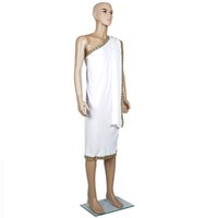 Wholesale Greek Party Dresses - Mens Fancy Party Dress Noble Man Greek God White Roman Toga Caesar Costume Deluxe Classic Toga Set With Wrist Cufs