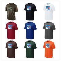 camisas camuflagem hóquei venda por atacado-Popular NHL Nova Iorque Rangers T-Shirts 2017 Hóquei Jerseys Camisetas Baratas Rangers Saudação Ao Serviço Camuflagem Camisas Dos Homens Preto Branco Azul