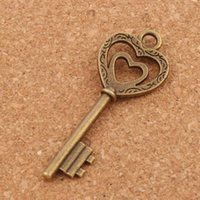 Wholesale Magical Beads - Retro Big Magical Double Heart Key Charm Beads 50pcs lot L892 19x50mm Antique Bronze Pendants Fashion Jewelry DIY L892