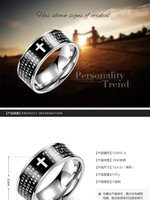 Wholesale United Boxes - Titanium steel series Free Shipping Fine Fashion Europe and the United States trend Men 's Titanium Steel Black Rings with box