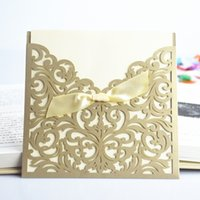 Wholesale Vintage Wedding Cards - Wholesale-30 Pcs Lot Lace Ribbon Bow Knot Wedding Invitation Card Vintage Laser Cut Gold Hollow Flowers Blank Inside With Envelope