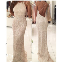 Wholesale Modern Sequined Short Bridesmaid Dresses - 2017 Free Shipping Evening Gowns Vestidos De Formature Scoop Neck Beaded Sleeveless Crisscross Low Back Mermaid Prom Dresses