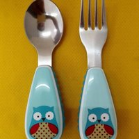 Wholesale dinnerware set cartoon for sale - Group buy Baby Tableware Stainless Steel Spoons Forks Dinnerware Set Children Gift Tablewares Zoo Cartoon Kids Fork Spoon Hot Sell qx J R