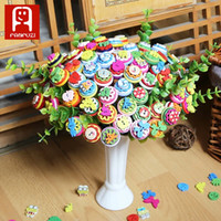 Wholesale Hand Painted Big Flowers - top selling porducts Button flower ColorfulMixed color to draw children's hand flower painting material DIY candy color round button